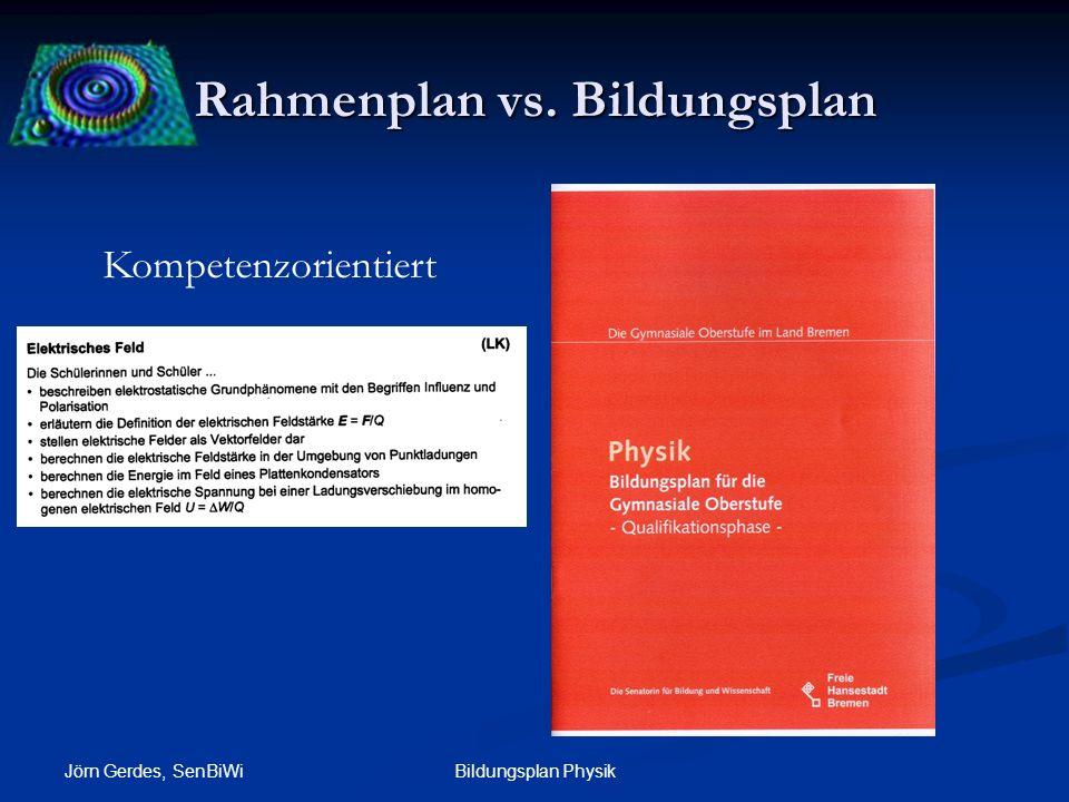 Rahmenplan vs. Bildungsplan Jörn Gerdes, SenBiWi Bildungsplan Physik Kompetenzorientiert