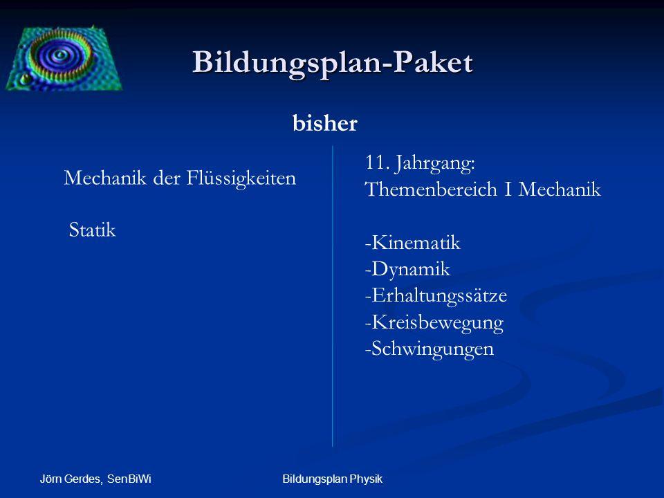 Bildungsplan-Paket Jörn Gerdes, SenBiWi Bildungsplan Physik Mechanik der Flüssigkeiten Statik 11. Jahrgang: Themenbereich I Mechanik -Kinematik -Dynam