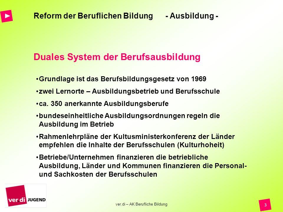 ver.di – AK Berufliche Bildung 4 Reform der Beruflichen Bildung - Ausbildung -.....es zentraler Baustein für die Sicherung einer zukunftsfähigen beruflichen Bildung ist!.....Erfahrungen aus den letzten 30 Jahren in der dualen Ausbildung Berücksichtigung finden müssen!.....in verschiedensten Bereichen der Beruflichen Bildung in Deutschland Probleme bestehen, die gelöst werden müssen.......