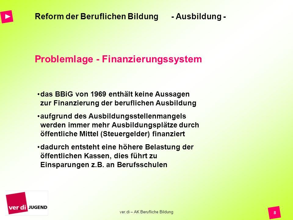 ver.di – AK Berufliche Bildung 8 Reform der Beruflichen Bildung - Ausbildung - Problemlage - Finanzierungssystem das BBiG von 1969 enthält keine Aussa