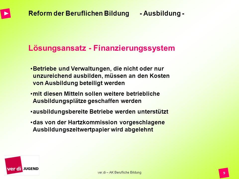 ver.di – AK Berufliche Bildung 9 Reform der Beruflichen Bildung - Ausbildung - Lösungsansatz - Finanzierungssystem Betriebe und Verwaltungen, die nich