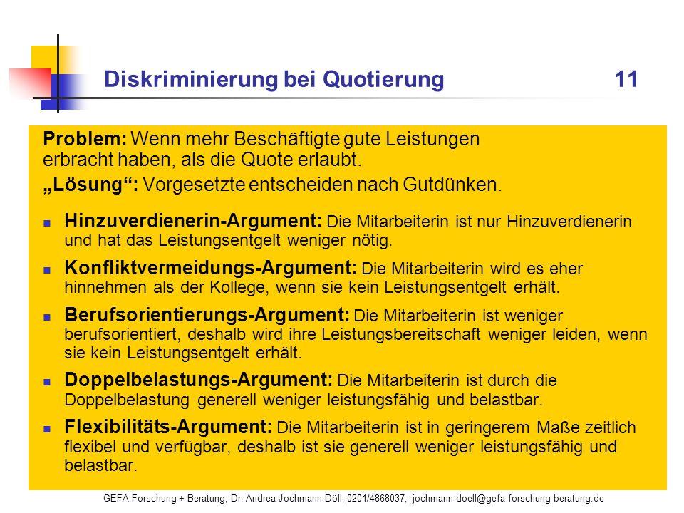 GEFA Forschung + Beratung, Dr. Andrea Jochmann-Döll, 0201/4868037, jochmann-doell@gefa-forschung-beratung.de Diskriminierung bei Quotierung 11 Problem