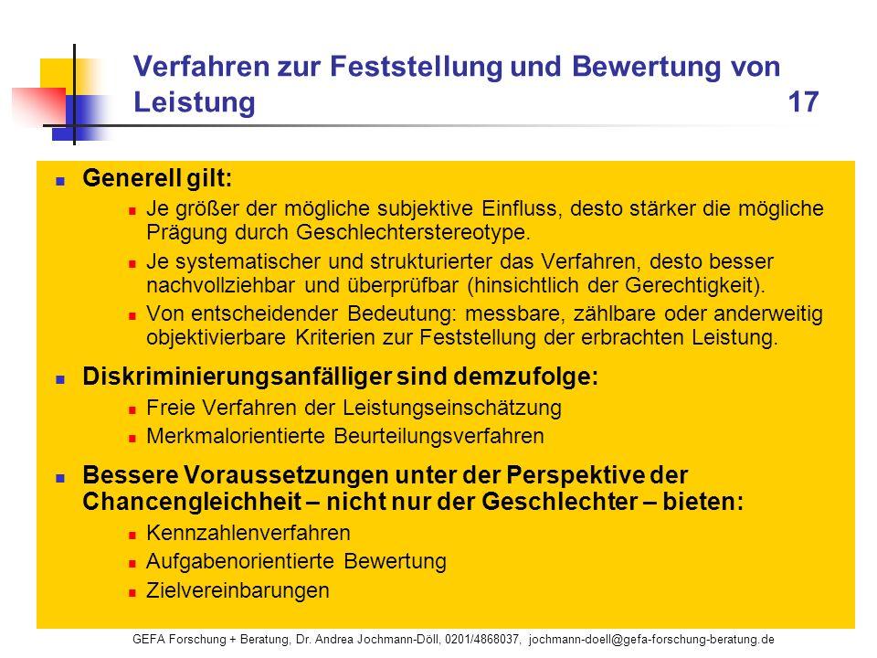 GEFA Forschung + Beratung, Dr. Andrea Jochmann-Döll, 0201/4868037, jochmann-doell@gefa-forschung-beratung.de Verfahren zur Feststellung und Bewertung