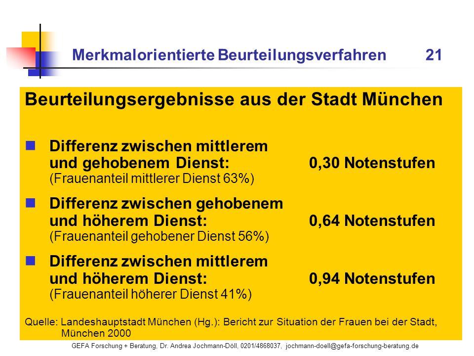 GEFA Forschung + Beratung, Dr. Andrea Jochmann-Döll, 0201/4868037, jochmann-doell@gefa-forschung-beratung.de Merkmalorientierte Beurteilungsverfahren
