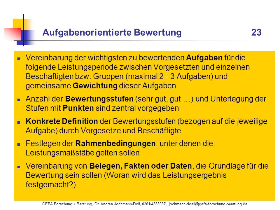 GEFA Forschung + Beratung, Dr. Andrea Jochmann-Döll, 0201/4868037, jochmann-doell@gefa-forschung-beratung.de Aufgabenorientierte Bewertung 23 Vereinba