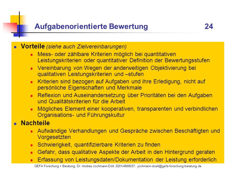 GEFA Forschung + Beratung, Dr. Andrea Jochmann-Döll, 0201/4868037, jochmann-doell@gefa-forschung-beratung.de Aufgabenorientierte Bewertung 24 Vorteile