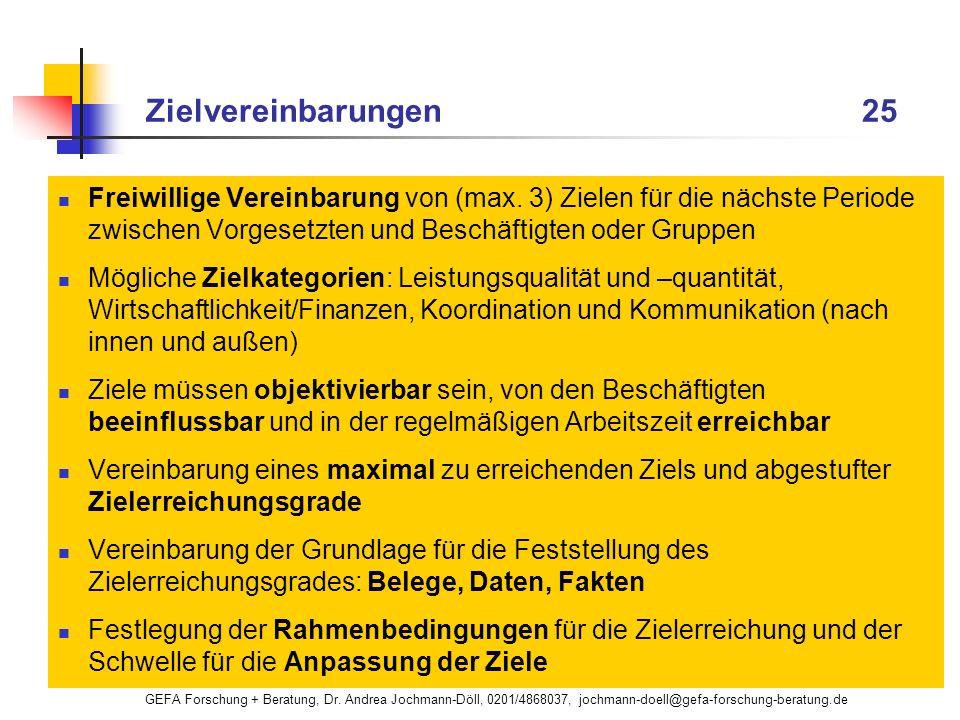 GEFA Forschung + Beratung, Dr. Andrea Jochmann-Döll, 0201/4868037, jochmann-doell@gefa-forschung-beratung.de Zielvereinbarungen 25 Freiwillige Vereinb