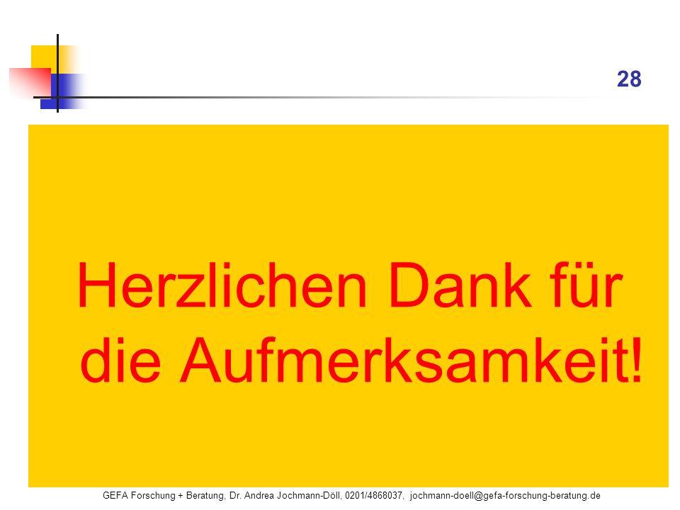 GEFA Forschung + Beratung, Dr. Andrea Jochmann-Döll, 0201/4868037, jochmann-doell@gefa-forschung-beratung.de 28 Herzlichen Dank für die Aufmerksamkeit