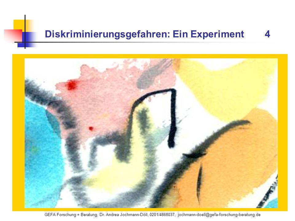 GEFA Forschung + Beratung, Dr. Andrea Jochmann-Döll, 0201/4868037, jochmann-doell@gefa-forschung-beratung.de Diskriminierungsgefahren: Ein Experiment