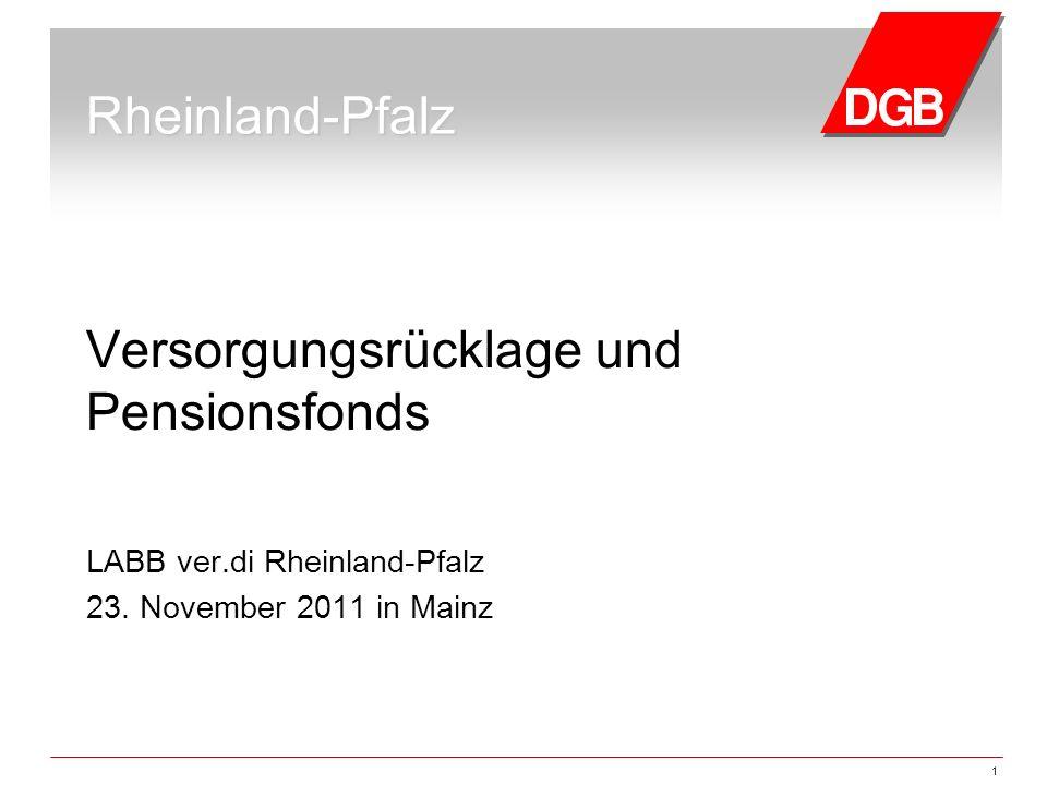1 Rheinland-Pfalz Versorgungsrücklage und Pensionsfonds LABB ver.di Rheinland-Pfalz 23. November 2011 in Mainz