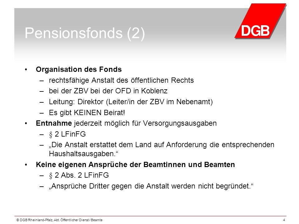 Pensionsfonds (2) Organisation des Fonds – rechtsfähige Anstalt des öffentlichen Rechts – bei der ZBV bei der OFD in Koblenz – Leitung: Direktor (Leit