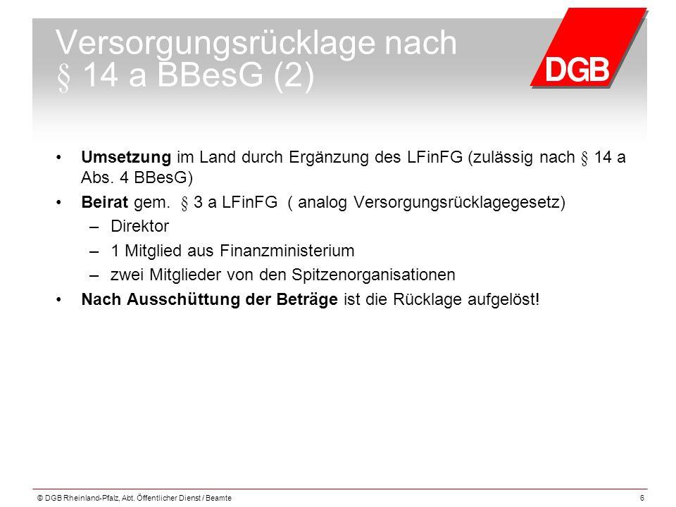 Versorgungsrücklage nach § 14 a BBesG (2) Umsetzung im Land durch Ergänzung des LFinFG (zulässig nach § 14 a Abs. 4 BBesG) Beirat gem. § 3 a LFinFG (