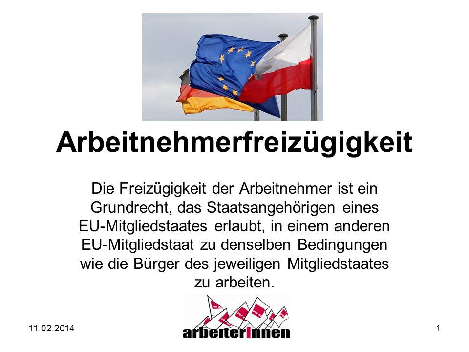 11.02.20141 Arbeitnehmerfreizügigkeit Die Freizügigkeit der Arbeitnehmer ist ein Grundrecht, das Staatsangehörigen eines EU-Mitgliedstaates erlaubt, i