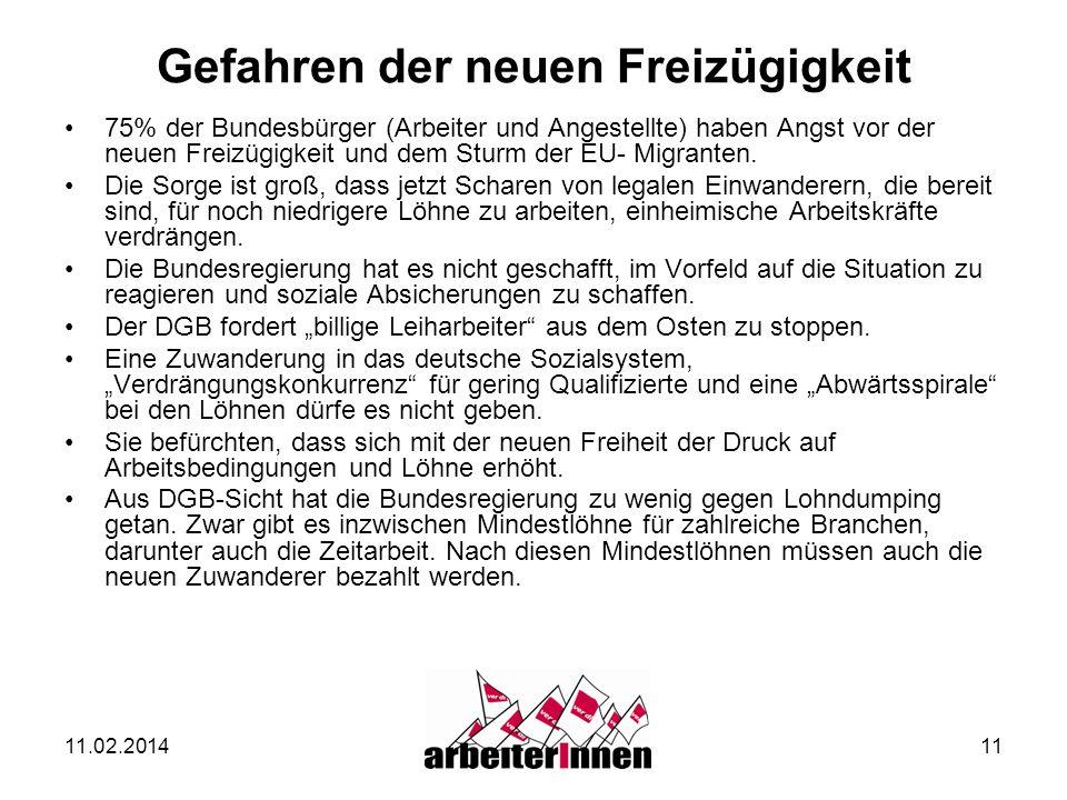 11.02.201411 Gefahren der neuen Freizügigkeit 75% der Bundesbürger (Arbeiter und Angestellte) haben Angst vor der neuen Freizügigkeit und dem Sturm de