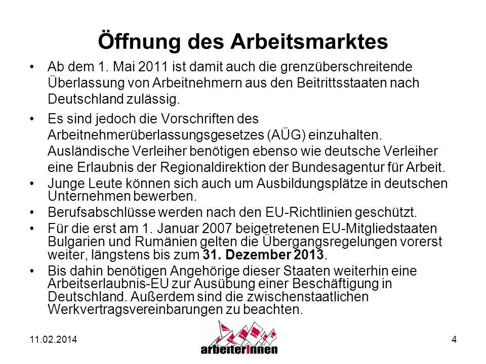 11.02.20144 Öffnung des Arbeitsmarktes Ab dem 1. Mai 2011 ist damit auch die grenzüberschreitende Überlassung von Arbeitnehmern aus den Beitrittsstaat