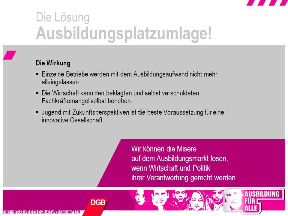 AUSBILDUNG FÜR ALLE Die Initiative 2008 www.ausbildung-fuer-alle.de