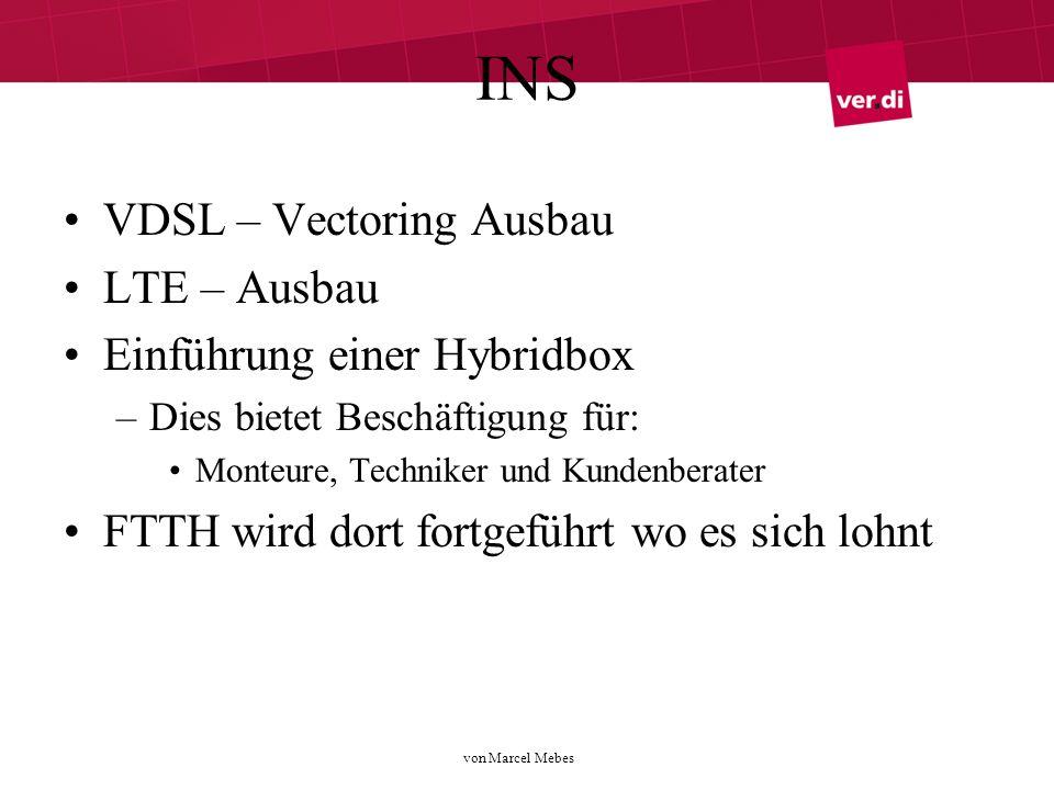 von Marcel Mebes INS VDSL – Vectoring Ausbau LTE – Ausbau Einführung einer Hybridbox –Dies bietet Beschäftigung für: Monteure, Techniker und Kundenberater FTTH wird dort fortgeführt wo es sich lohnt
