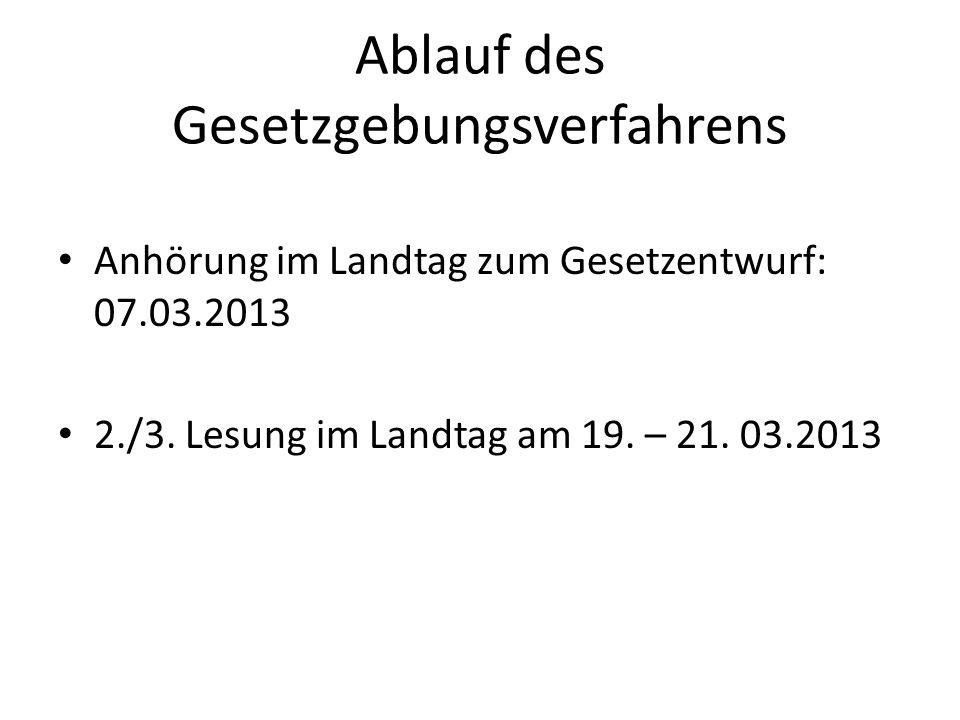 Ablauf des Gesetzgebungsverfahrens Anhörung im Landtag zum Gesetzentwurf: 07.03.2013 2./3. Lesung im Landtag am 19. – 21. 03.2013