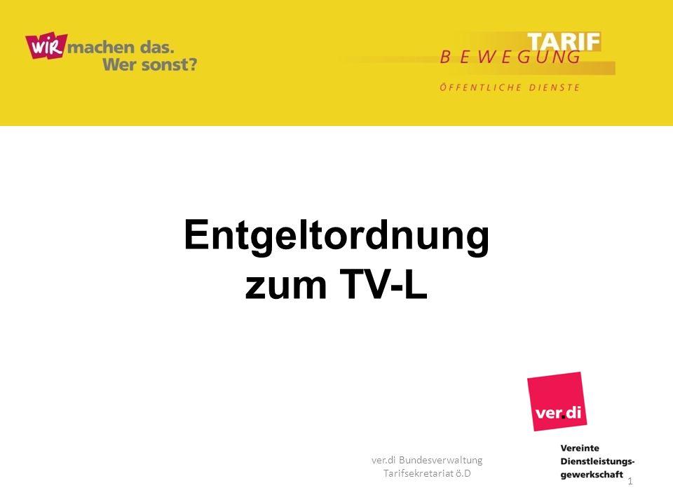 Entgeltordnung zum TV-L 1 ver.di Bundesverwaltung Tarifsekretariat ö.D