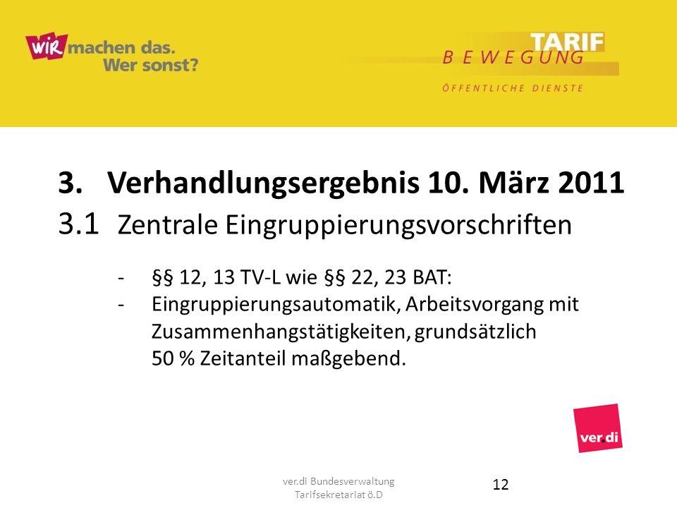 3. Verhandlungsergebnis 10. März 2011 3.1 Zentrale Eingruppierungsvorschriften -§§ 12, 13 TV-L wie §§ 22, 23 BAT: - Eingruppierungsautomatik, Arbeitsv