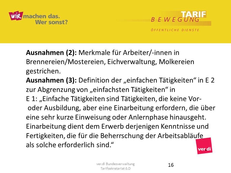 Ausnahmen (2): Merkmale für Arbeiter/-innen in Brennereien/Mostereien, Eichverwaltung, Molkereien gestrichen. Ausnahmen (3): Definition der einfachen