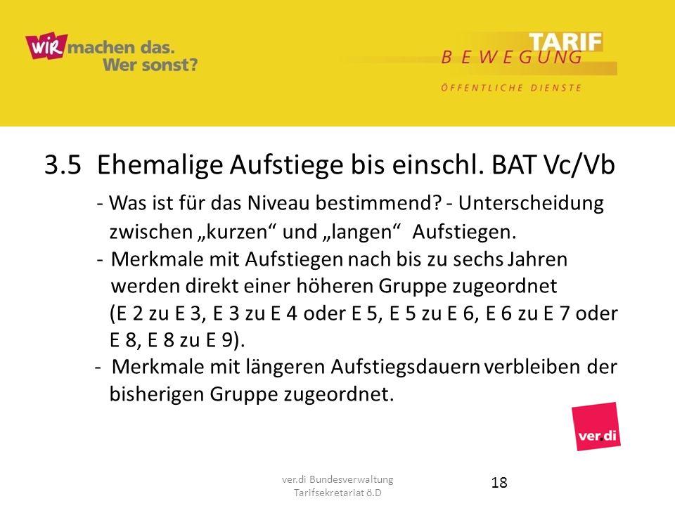 3.5Ehemalige Aufstiege bis einschl. BAT Vc/Vb - Was ist für das Niveau bestimmend? - Unterscheidung zwischen kurzen und langen Aufstiegen. -Merkmale m