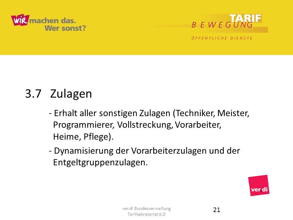 3.7 Zulagen - Erhalt aller sonstigen Zulagen (Techniker, Meister, Programmierer, Vollstreckung, Vorarbeiter, Heime, Pflege). - Dynamisierung der Vorar