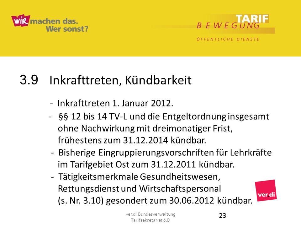 3.9 Inkrafttreten, Kündbarkeit - Inkrafttreten 1. Januar 2012. - §§ 12 bis 14 TV-L und die Entgeltordnung insgesamt ohne Nachwirkung mit dreimonatiger