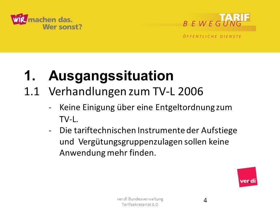 1. Ausgangssituation 1.1Verhandlungen zum TV-L 2006 - Keine Einigung über eine Entgeltordnung zum TV-L. - Die tariftechnischen Instrumente der Aufstie