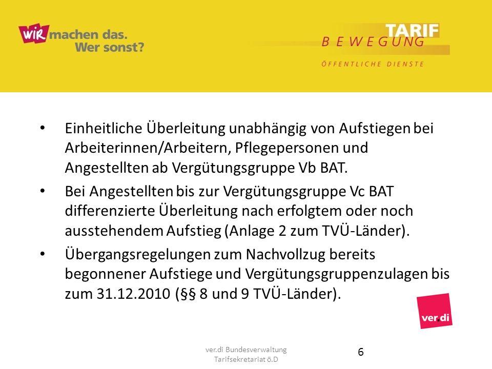 Einheitliche Überleitung unabhängig von Aufstiegen bei Arbeiterinnen/Arbeitern, Pflegepersonen und Angestellten ab Vergütungsgruppe Vb BAT. Bei Angest