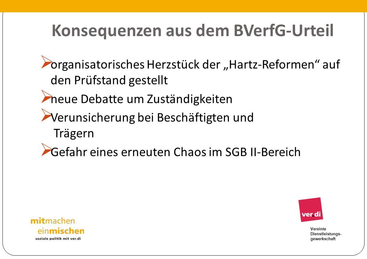 Vereinte Dienstleistungs- gewerkschaft Konsequenzen aus dem BVerfG-Urteil organisatorisches Herzstück der Hartz-Reformen auf den Prüfstand gestellt ne