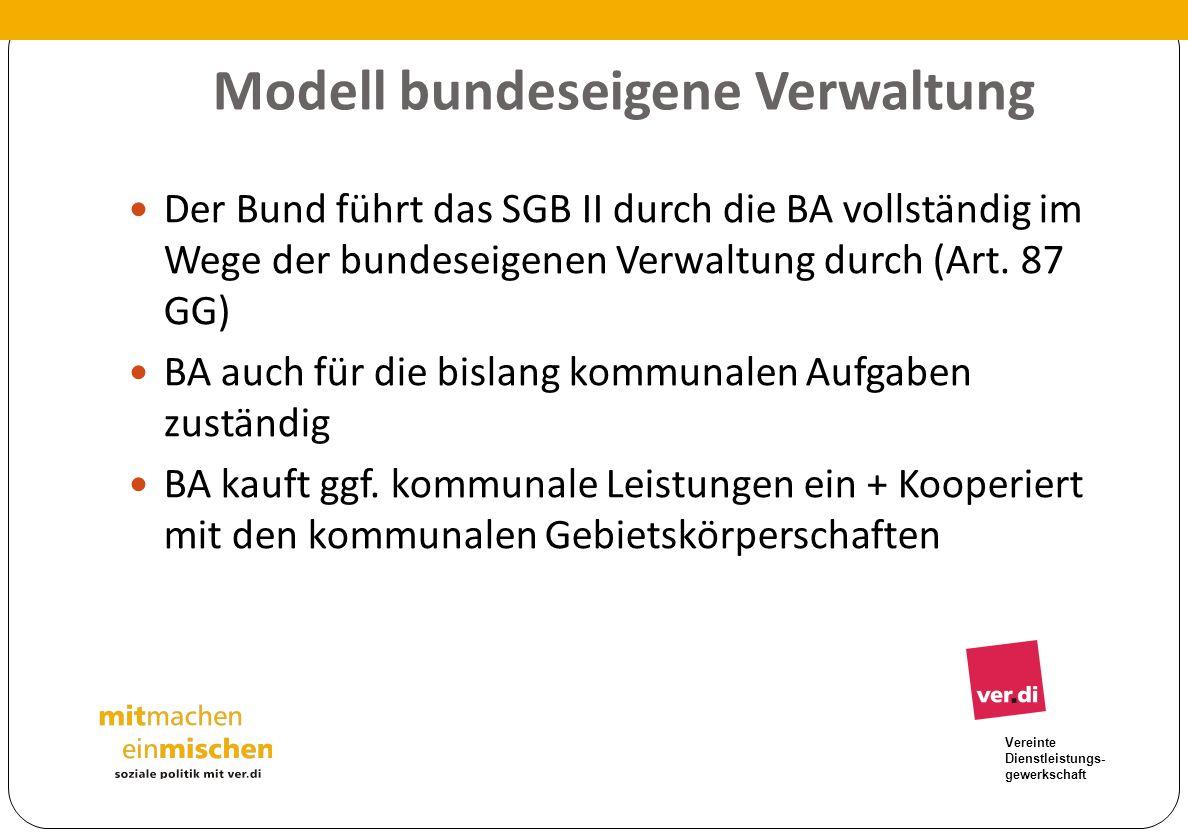 Vereinte Dienstleistungs- gewerkschaft Modell bundeseigene Verwaltung Der Bund führt das SGB II durch die BA vollständig im Wege der bundeseigenen Ver