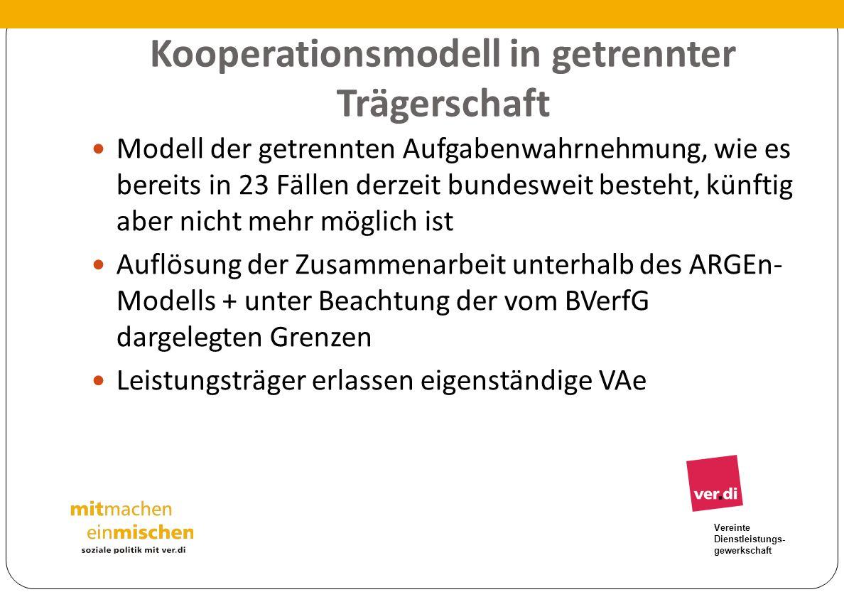 Vereinte Dienstleistungs- gewerkschaft Kooperationsmodell in getrennter Trägerschaft Modell der getrennten Aufgabenwahrnehmung, wie es bereits in 23 F