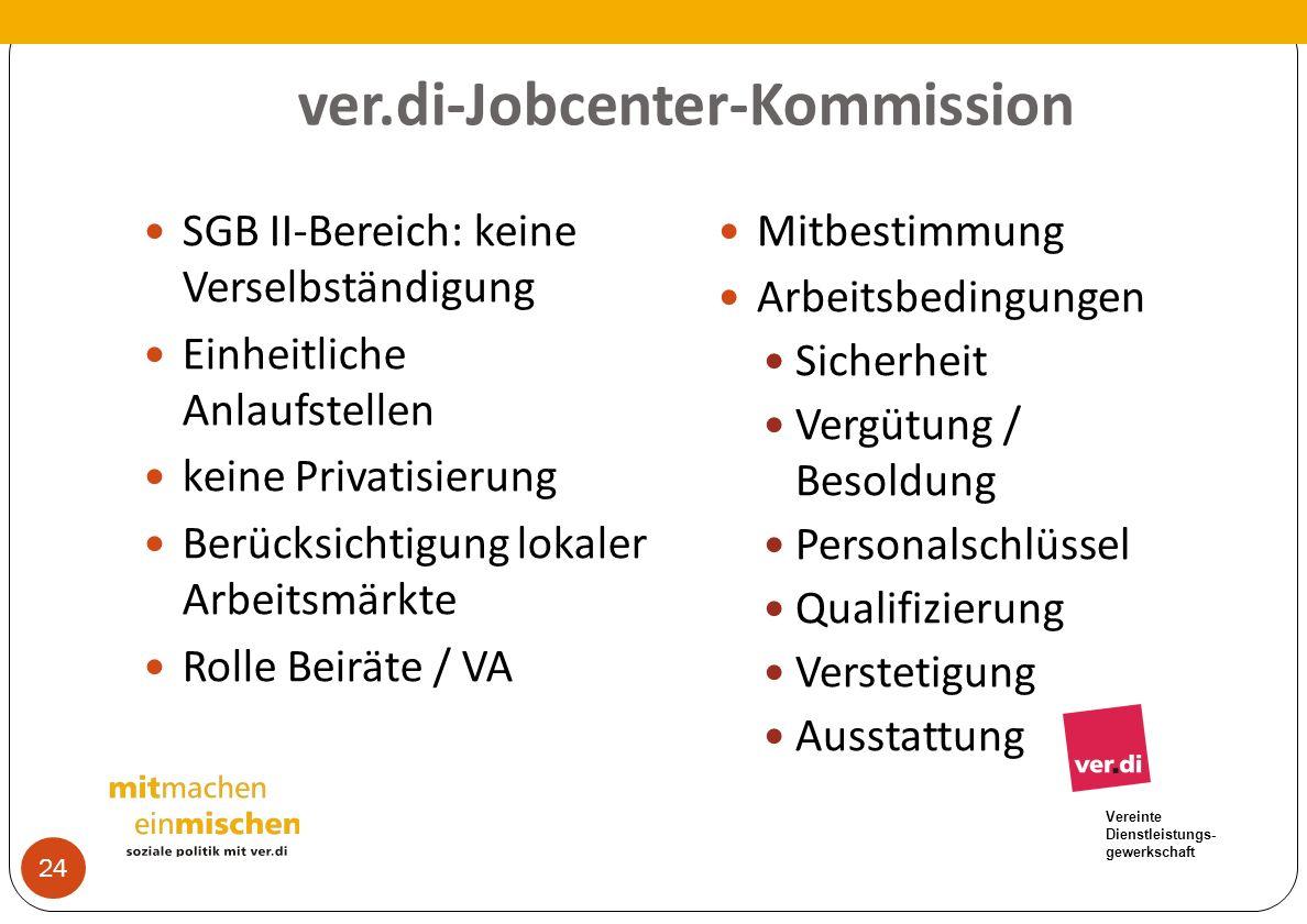 Vereinte Dienstleistungs- gewerkschaft ver.di-Jobcenter-Kommission SGB II-Bereich: keine Verselbständigung Einheitliche Anlaufstellen keine Privatisie