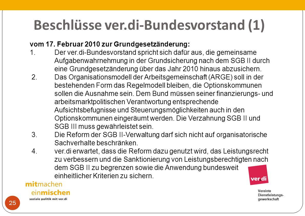 Vereinte Dienstleistungs- gewerkschaft Beschlüsse ver.di-Bundesvorstand (1) 25 vom 17. Februar 2010 zur Grundgesetzänderung: 1.Der ver.di-Bundesvorsta