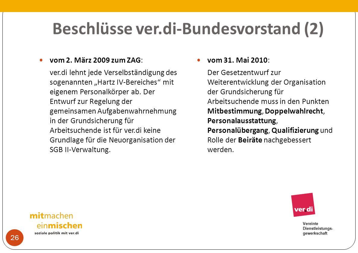 Vereinte Dienstleistungs- gewerkschaft Beschlüsse ver.di-Bundesvorstand (2) vom 2. März 2009 zum ZAG: ver.di lehnt jede Verselbständigung des sogenann