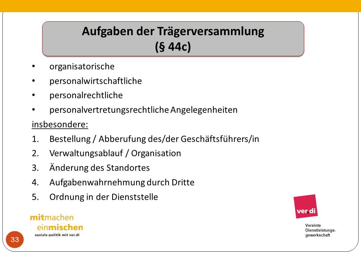 Vereinte Dienstleistungs- gewerkschaft Aufgaben der Trägerversammlung (§ 44c) Aufgaben der Trägerversammlung (§ 44c) organisatorische personalwirtscha