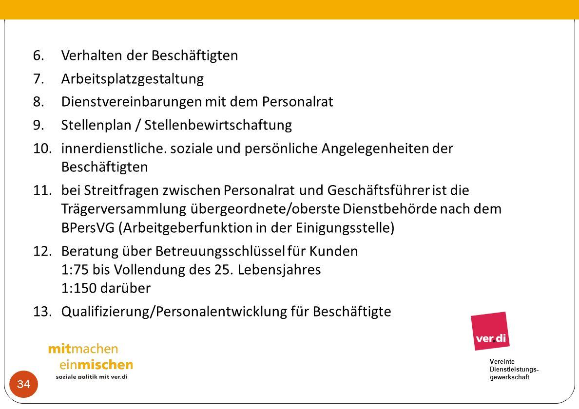Vereinte Dienstleistungs- gewerkschaft 6.Verhalten der Beschäftigten 7.Arbeitsplatzgestaltung 8.Dienstvereinbarungen mit dem Personalrat 9.Stellenplan
