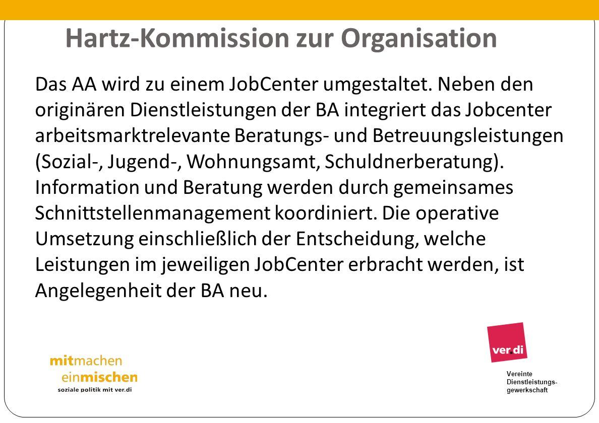 Vereinte Dienstleistungs- gewerkschaft Hartz-Kommission zur Organisation Das AA wird zu einem JobCenter umgestaltet. Neben den originären Dienstleistu
