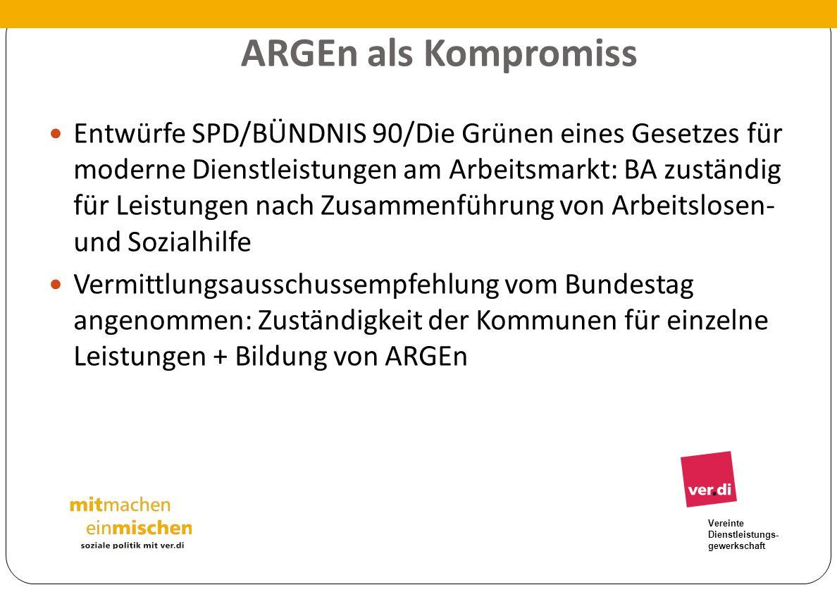 Vereinte Dienstleistungs- gewerkschaft ARGEn als Kompromiss Entwürfe SPD/BÜNDNIS 90/Die Grünen eines Gesetzes für moderne Dienstleistungen am Arbeitsm