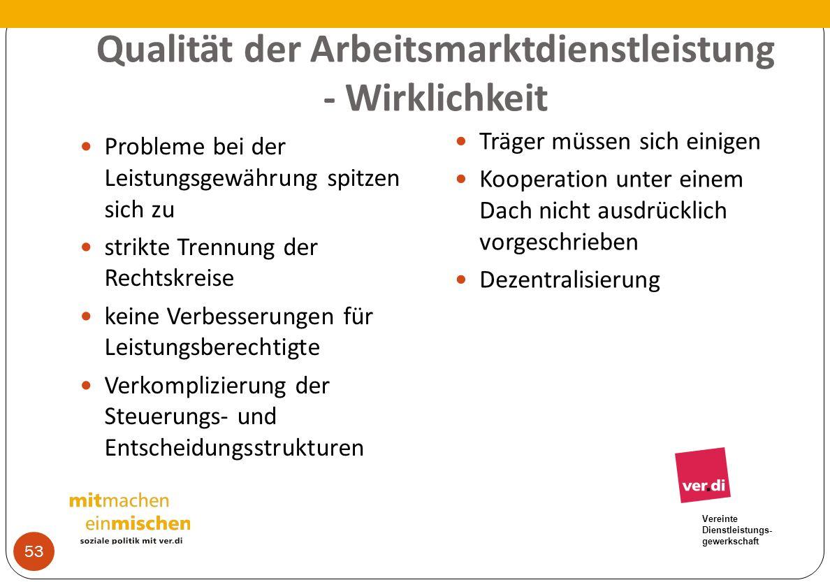 Vereinte Dienstleistungs- gewerkschaft Qualität der Arbeitsmarktdienstleistung - Wirklichkeit Probleme bei der Leistungsgewährung spitzen sich zu stri