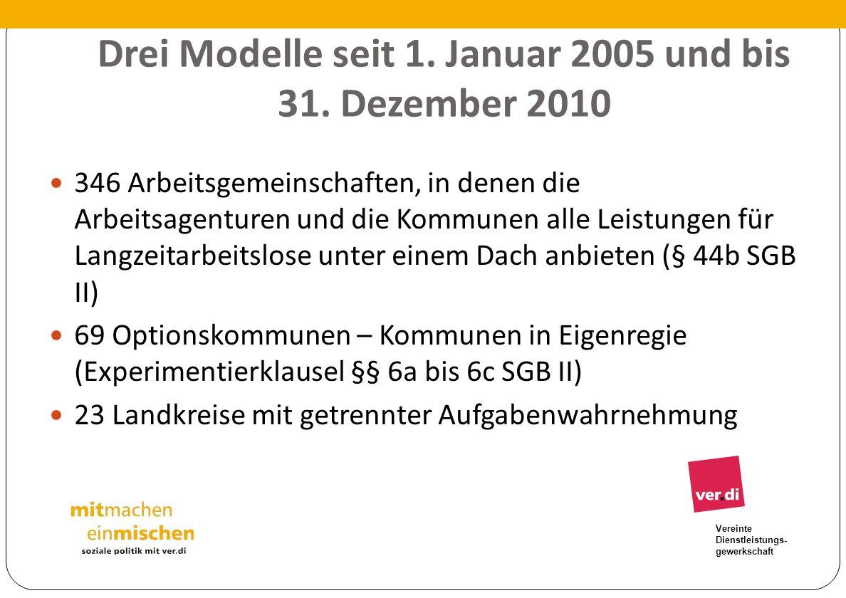 Vereinte Dienstleistungs- gewerkschaft Drei Modelle seit 1. Januar 2005 und bis 31. Dezember 2010 346 Arbeitsgemeinschaften, in denen die Arbeitsagent