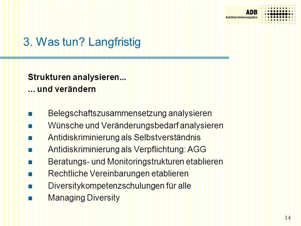 Strukturen analysieren...... und verändern Belegschaftszusammensetzung analysieren Wünsche und Veränderungsbedarf analysieren Antidiskriminierung als