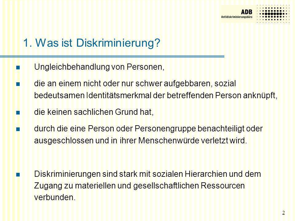 2 1. Was ist Diskriminierung? Ungleichbehandlung von Personen, die an einem nicht oder nur schwer aufgebbaren, sozial bedeutsamen Identitätsmerkmal de