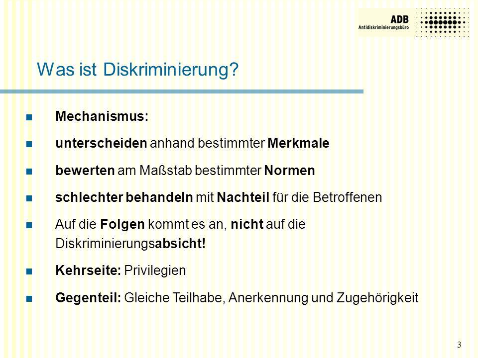 3 Was ist Diskriminierung? Mechanismus: unterscheiden anhand bestimmter Merkmale bewerten am Maßstab bestimmter Normen schlechter behandeln mit Nachte