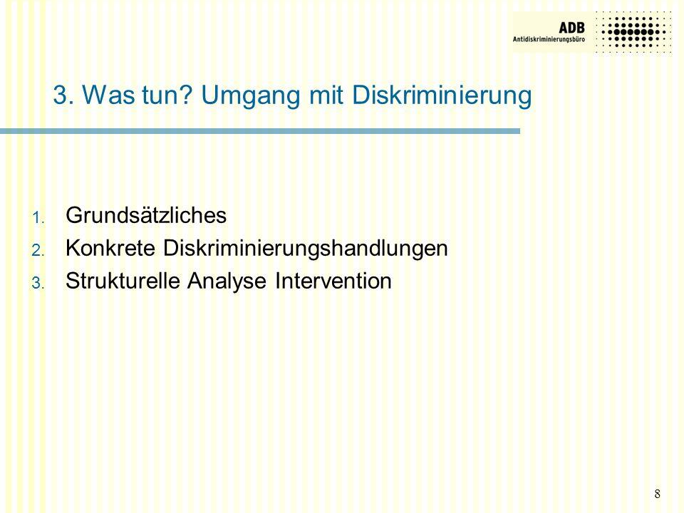 1. Grundsätzliches 2. Konkrete Diskriminierungshandlungen 3. Strukturelle Analyse Intervention 3. Was tun? Umgang mit Diskriminierung 8