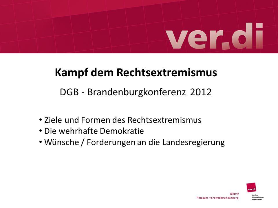 Kampf dem Rechtsextremismus DGB - Brandenburgkonferenz 2012 Bezirk Potsdam-Nordwestbrandenburg Ziele und Formen des Rechtsextremismus Die wehrhafte De