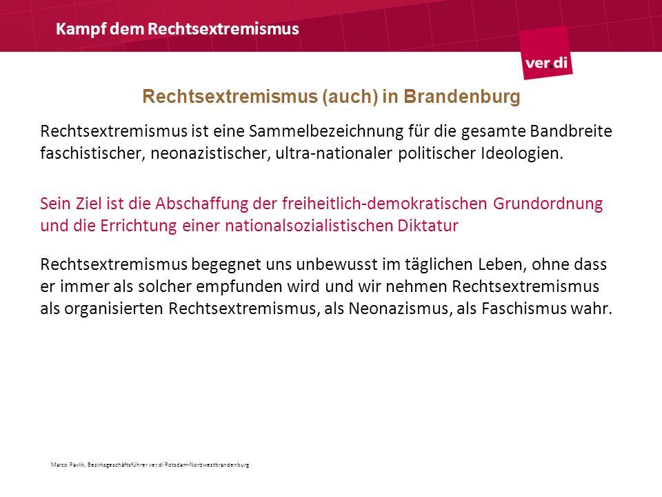 Rechtsextremismus (auch) in Brandenburg Kampf dem Rechtsextremismus Rechtsextremismus ist eine Sammelbezeichnung für die gesamte Bandbreite faschistis