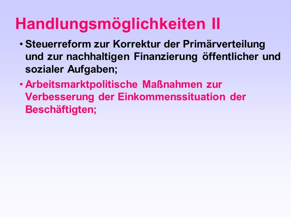 Steuerreform zur Korrektur der Primärverteilung und zur nachhaltigen Finanzierung öffentlicher und sozialer Aufgaben; Arbeitsmarktpolitische Maßnahmen