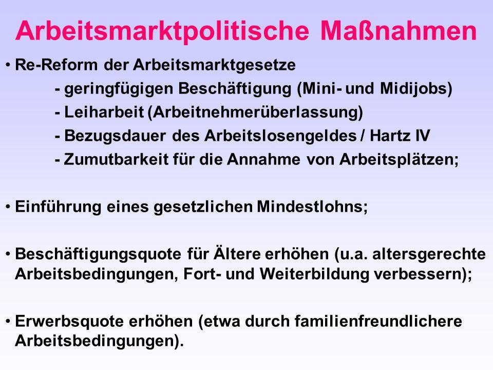Arbeitsmarktpolitische Maßnahmen Re-Reform der Arbeitsmarktgesetze - geringfügigen Beschäftigung (Mini- und Midijobs) - Leiharbeit (Arbeitnehmerüberla